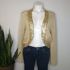 Anthro Curio beige & gold sequin cardigan size L